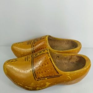 Vintage Wooden Dutch Clogs Hand Painted Solid Wood